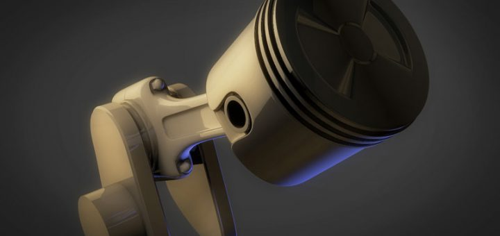 3D render of piston, connecting rod, and crankshaft in perspective created in Cinema 4D.