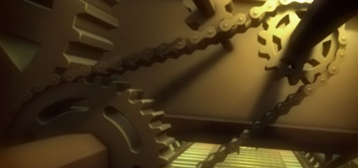 Closeup 3D render of gears and chains in a darkish setting with bright gold light in perspective created in Cinema 4D.