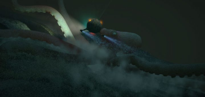 3D render of huge octopus and underwater vessel against moody underwater scene created in Cinema 4D.
