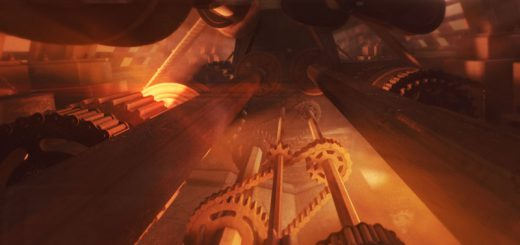 3D render of factory-like scene with gears, chains and cogs in a dark setting with fiery hot spots in deep perspective created in Cinema 4D.